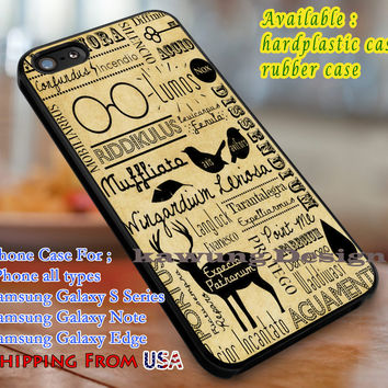 HP Spells Collage, Harry Potter, Spell, Supernatural, Hogwarts, case/cover for iPhone 4/4s/5/5c/6/6+/6s/6s+ Samsung Galaxy S4/S5/S6/Edge/Edge+ NOTE 3/4/5 #movie #harrypotter dl1