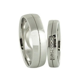 Custom Contemporary style His and Her Diamond wedding bands in 14k white gold
