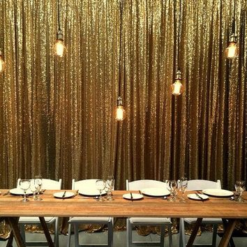 9FTX9FT Silver/Gold Shimmer Sequin Fabric Backdrops Wedding Photo Booth,Sequin Curtains,Drapes,Sequin Panels Background Decor