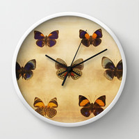 Vintage Sepia Butterfly Display Wall Clock by Brooke Ryan Photography