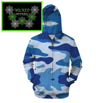 Wicked Apparel Blue Camo Hoodie #70