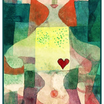 The Queen of Hearts by Expressionist Artist Paul Klee Counted Cross Stitch or Counted Needlepoint Pattern