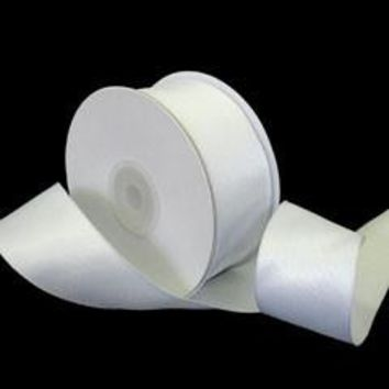 "WIRED Double Faced Satin Ribbon in White - 1-5/16"" Wide x 20 yd"