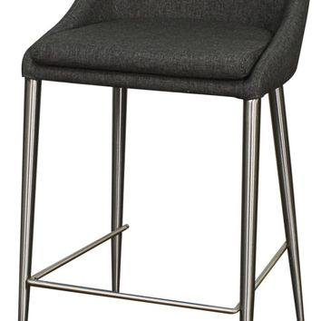 Zane Fabric Counter Stool Brushed Stainless Legs, Night Shade (Set of 2)
