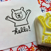 hello-  hand carved rubber stamp - teddy bear - handmade - READY TO SHIP
