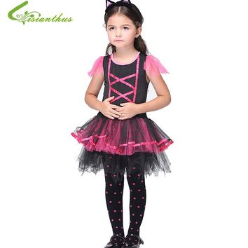 Halloween Costume Fancy Clothing Set For Girls Children Latin Dance Costumes Dress + Headwear Party Dresses Christmas Perform