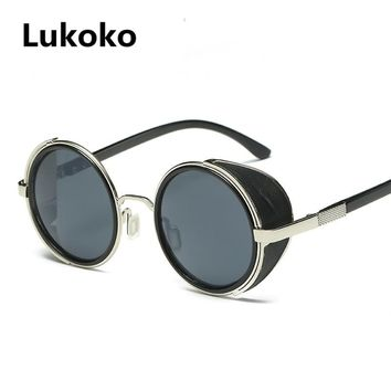 Lukoko Fashion Steampunk Sunglasses Women Men Windproof Vintage Retro Round Metal Sun Glasses UV400 Steam Punk Goggles Oculos