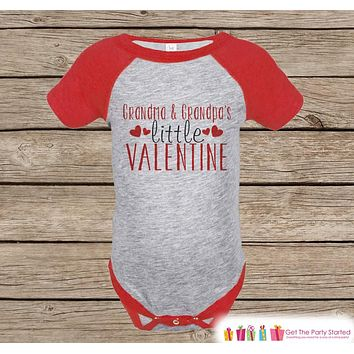 Kids Valentines Day Outfit - Grandma & Grandpa's Valentine Onepiece - Novelty Valentine Raglan Shirt - Boy or Girl - Grandparents Valentine