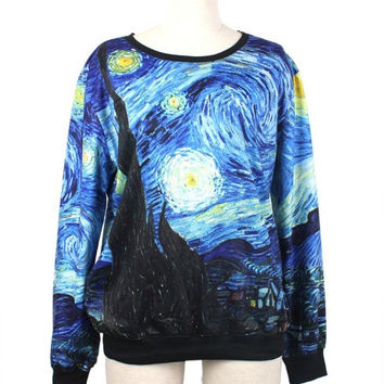 Vincent Van Gogh Starry Night Sweatshirt Starry Night Hoodies Women/Men hoodies galaxy Top Space Printed Hoodies Running galaxy sweatshirts = 1920037060