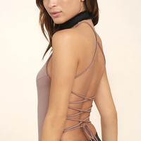 Yvonne Mauve Lace-Up Bodysuit