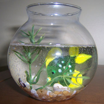 tropical fish Paperweight, Green spotted glass fish in bowl paperweight