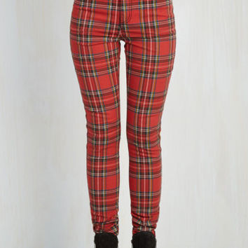 Vintage Inspired, 90s, Steampunk, Scholastic Long Skinny Never Plaid It So Good Jeans in Red - High-Rise by ModCloth