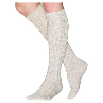 Wigwam Women's Classic Wool Cable Knee High Socks - Oatmeal