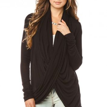 Lilou Wrap Cardigan in Black - ShopSosie.com