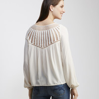 Long Sleeve Crochet Yoke Peasant Top