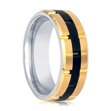 Aydins Gold & Black Tungsten Mens Wedding Band Black Grooved Center 8mm Tungsten Wedding Ring