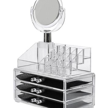Acrylic Cosmetic Jewellery Box Nail Art Organizer Double Layer Beauty Vanity Jewellery Acrylic Stand and organizer 16 Slot Acrylic Makeup Organizer 3 Drawers with Removable Mirror Cosmetic Organizer pack of 1
