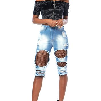 Fishnet-Insert Bermuda Distressed Shorts
