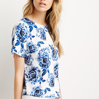 Boxy Rose Print Top