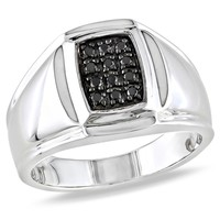 1/5 Carat Black Diamond Fashion Ring in Sterling Silver