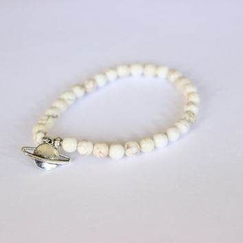Saturn Planet Space Bracelet, White Howlite or Green Ceramic