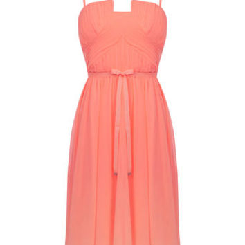 PLEAT BANDEAU SKATER DRESS