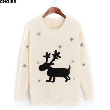 Women White Navy Elk and Snowflake Pattern Christmas Sweater Long Sleeve O Neck Jumper Autumn Winter Brand Knitted Pullover