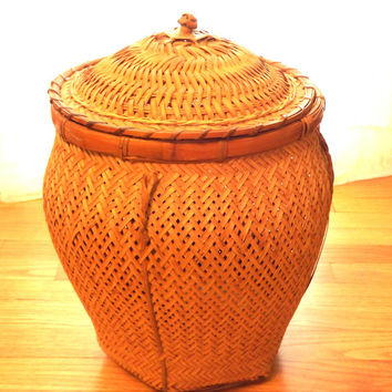 Bamboo Basket with Lid, Vintage Woven Floor Basket, Craft Supply Basket