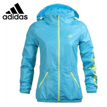 Original Adidas women's jacket Hooded Windproof Sportswear