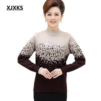 XJXKS New 2017 womens sweater middle-aged women's Plus Size easing sweater knit pullover thick warm cashmere sweater women