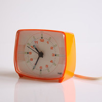 Orange Nufa alarm clock, funky retro digital alarm clock, vintage mid century clock, orange home decor, Made in Holland 1970 clock