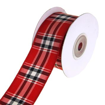 Woven Lauren Plaid Wired Christmas Holiday Ribbon, Red/Black, 1-1/2-Inch, 10 Yards