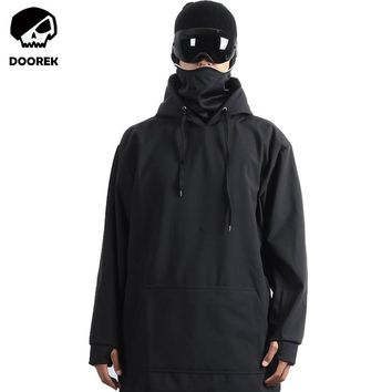 Doorek Professional Men Women Winter Ski Jacket Warm Waterproof Breathable Skiing Snowboard Softshell Hoodie Mask Jacket