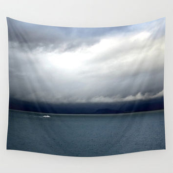 Ocean tapestry, tapestry wall hanging, photo tapestry, speedboat, nautical tapestry, dark blue, navy blue, minimalist, large artwork, stormy