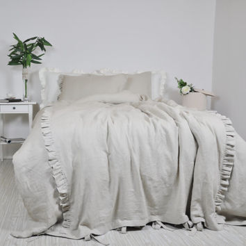 Linen Duvet Cover Set in Full Queen King Size - Oatmeal Beige - 100% Linen Bedding - Ruffle Duvet Cover and Pillowcases