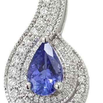1.24 CT (t.w.) Natural Tanzanite Cut White Diamond Halo On 14K/18k Gold Engagement Necklace Pendant