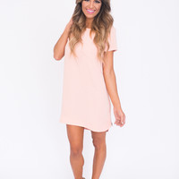 Zipper Shift Dress- Peach