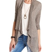 Ruched Sleeve Draped Cardigan: Charlotte Russe