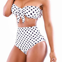 Black Dot print High Waist Push Up Swimwear Women Plus Size Bikini Bathing Suit Beach Swim Suit Wear
