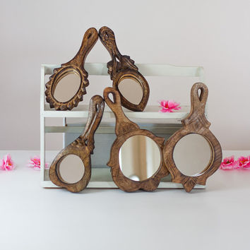 5 Wooden Hand Mirrors: Lot Vintage Mirror Collection, Christmas Gift Lot, Compact Vanity Mirror, Wall Hanging / Carved Wood Table Mirror