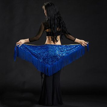 2018 Hot Belly Dance Costume Triangle Hip Scarf Sequin Fringe Tassels Belt Belly Dance Hip Mermaid Hip Towel 10 Colors