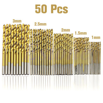 50 Pcs drill bit set HSS 4241 Titanium Coated Twist Drill Bits Tool Set Metric System drill bit