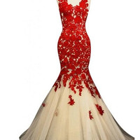 Homecoming Dress,Red Lace Straps Chiffon Mermaid Long Prom Dress