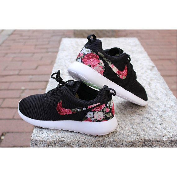 pretty nice d1ca6 f586b Floral Nike Roshe Run Custom Black White Roses Vintage Rose