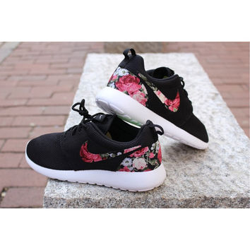 Floral Nike Roshe Run Custom Black White Roses Vintage Rose