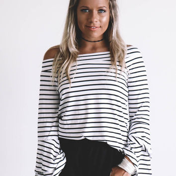 Line It Up White And Black Off The Shoulder Striped Top