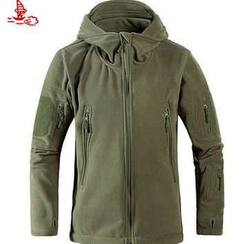 US Military Man Fleece tad Tactical Jackets Outdoor Micro Polartec Thermal Polar Hooded Coat Outerwear Army Clothes Weatherproof