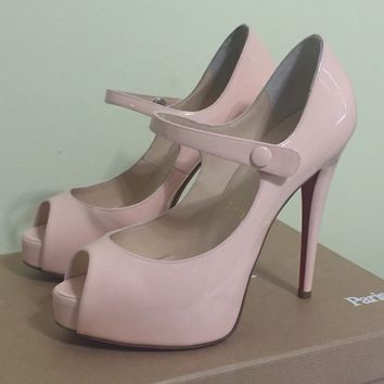 AUTHENTIC CHRISTIAN LOUBOUTIN BEIGE/PINK MARY JANE PLATFORM PUMP SANDAL /36.5