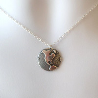 Silver Globe Necklace - Silver Round 1/2 Globe Charm Necklace - United States Silver Necklace - Earth Necklace - Christmas Gifts