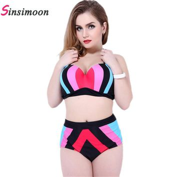 New swimwear big striped two pieces bathing suit patchwork high waist push up swimsuit